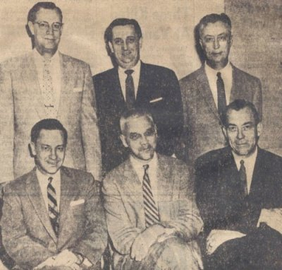 The members of the Board of Directors in 1957: (front row) Harold J. Engstrom; Dr. William G. Cooper, Jr; R.A. Lile; (back ro