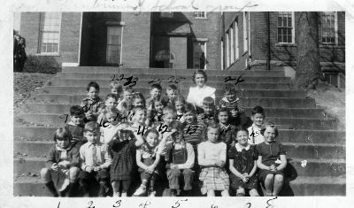 Class photo on the steps of Centennial Elementary, early 1940s. Some of the students are identified on the back of the photo: 1. Delma Manuel; 2. Joe Blaylock; 4. Margaret Chote; 5. Ben Piazza; 13. Bobby Chapman; 21. Harry Gladden; 22. William Schmidt; 24. Jimmy Black; 26. John Bennett. Student Ben Piazza became an actor on Broadway and in movies; he appeared in The Bad News Bears, I Never Promised You a Rose Garden, Mask, The Blues Brothers, Apocalypse Now and Rocky V. Photo courtesy of Cliff Manuel.