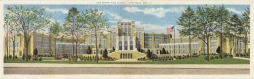 Vintage double-width postcard depicting Central High School. From LRSD Archives.