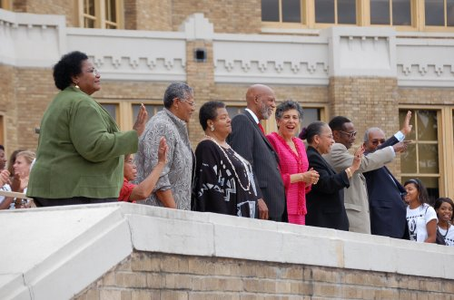 Photo: The Little Rock Nine, gathered together once again for the 50th anniversary of the desegregation of Little Rock Centra