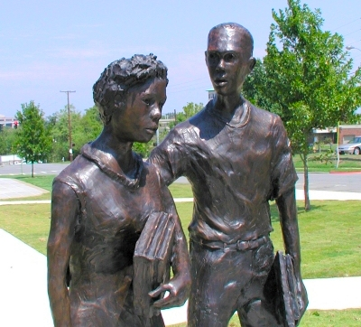 "Detail of the Little Rock Nine statue ""Testament"" at the Arkansas State Capitol."