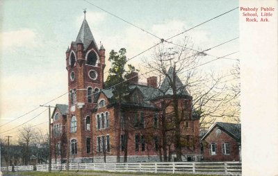 "Photo: Postcard of ""Peabody Public School."" From LRSD archives."