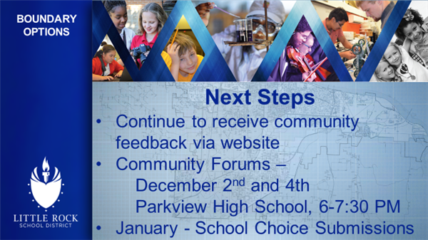 Next Steps continue to receive community feedback via website community forums december 2nd and 4th Parkview High School 6-73