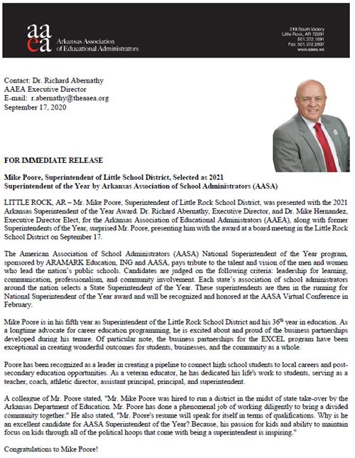 Poore Superintendent of Year Press release - see accessible PDF version link