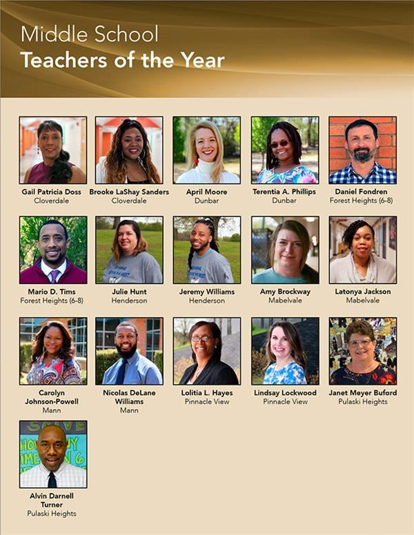 Teacher of the Year Middle Schools