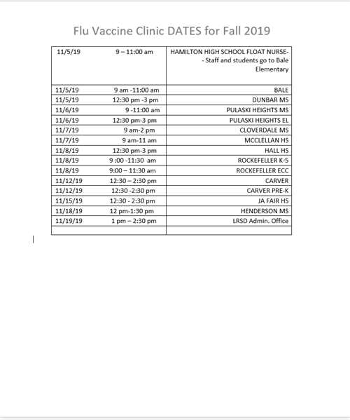 Page 2 of Flu Clinic Schedule