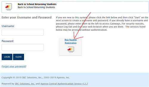 image of login page with red arrow