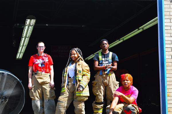Students in fire gear
